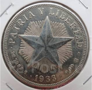 1 песо.1933г. Куба. Звезда. Серебро. XF+.