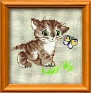 Набор для вышивания (Котенок с бабочкой), пакет