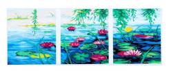 Роспись по холсту-модульная кар 'Лотосы на пруду' по номерам с красками по 3 мл, 3шт по 50*50см