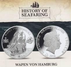 Соломоновы о-ва 1 доллар 2016 Wapen von Humburg. Корабль. Парусник