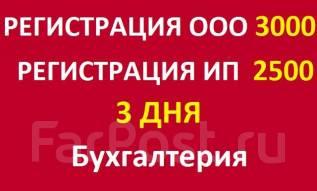 Регистрация ООО 3000, ИП 2500, 3 дня!