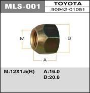 Гайка MLS001 12x1,5 под ключ 21мм сквозная MASUMA