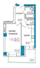 1-комнатная, улица Калинина 13 стр. 3. Чуркин, частное лицо, 44кв.м. План квартиры