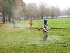 Покос травы бензотримером