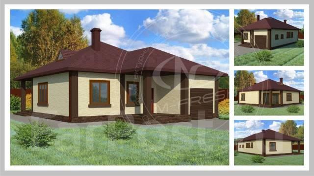 M-fresh Barbaris (Готовый проект одноэтажного простого дома для Вас! ). 100-200 кв. м., 1 этаж, 3 комнаты, бетон