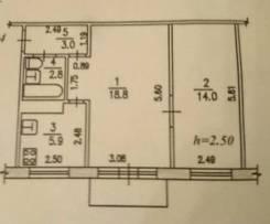 2-комнатная, улица Гаражная 3а. Индустриальный, частное лицо, 45кв.м. План квартиры