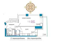 1-комнатная, улица Калинина 13 стр. 3. Чуркин, частное лицо, 46кв.м. План квартиры
