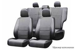 Комплект чехлов для УАЗ Патриот, 2005-2014/ SsangYong Rexton 2001-2012 (5-мест), экокожа черная/ жаккард темно-серый