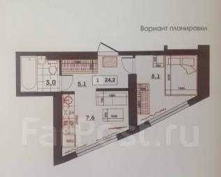1-комнатная, улица Леонова 70. Эгершельд, частное лицо, 24кв.м.
