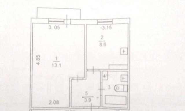 1-комнатная, улица Промышленная 3. Сахпоселок, агентство, 29кв.м. План квартиры