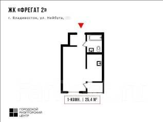 1-комнатная, улица Нейбута 8. 64, 71 микрорайоны, проверенное агентство, 25кв.м. План квартиры