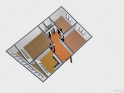 3-комнатная, улица Заречная 4. Сахпоселок, агентство, 66кв.м. План квартиры