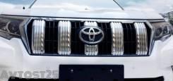 Накладка на решетку бампера. Toyota Land Cruiser Prado, GDJ150L, GDJ150W, GDJ151W, GRJ150L, TRJ150L, TRJ150W, GRJ151W, GRJ150W, KDJ150, TRJ150, KDJ150...