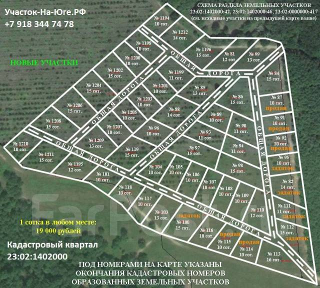 Земельные участки на юге за 19 тыс. рублей за сотку. 1 000кв.м., собственность, электричество, вода, от частного лица (собственник)