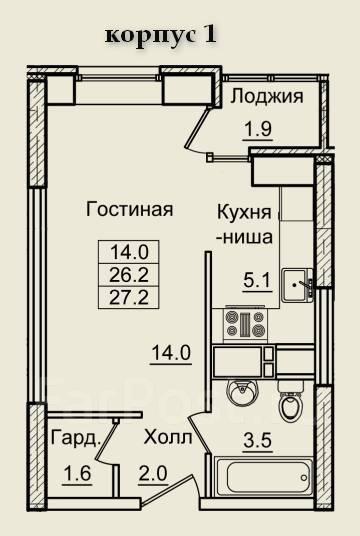 1-комнатная, улица Нейбута 8. 64, 71 микрорайоны, застройщик, 27кв.м. План квартиры