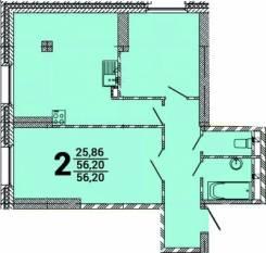 2-комнатная, улица Можайская 5 стр. 1. Патрокл, застройщик, 56кв.м. План квартиры