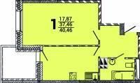 1-комнатная, улица Можайская 5 стр. 1. Патрокл, застройщик, 40кв.м. План квартиры