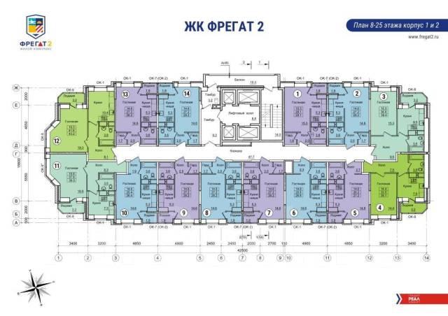 1-комнатная, улица Нейбута 17 кор. 2. 64, 71 микрорайоны, застройщик, 35кв.м.