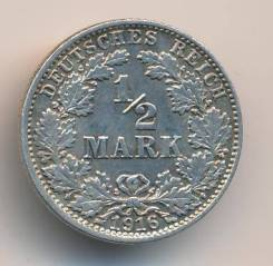1/2 марки 1916г. Германия (J) Серебро