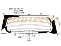 Стекло заднее (крышка багажника) с обогревом в клей KIA SOUL PS 13-