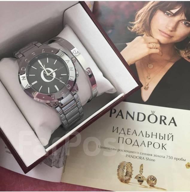 шикарный набор часы и браслет Pandora в подарочной коробке