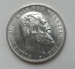 Вютемберг (Германия) 3 марки 1914г UNC Ag900