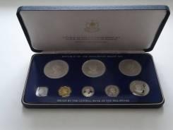 Филиппины набор монет 1975 г. Пруф, сертификаты, 50 и 25 песо серебро.