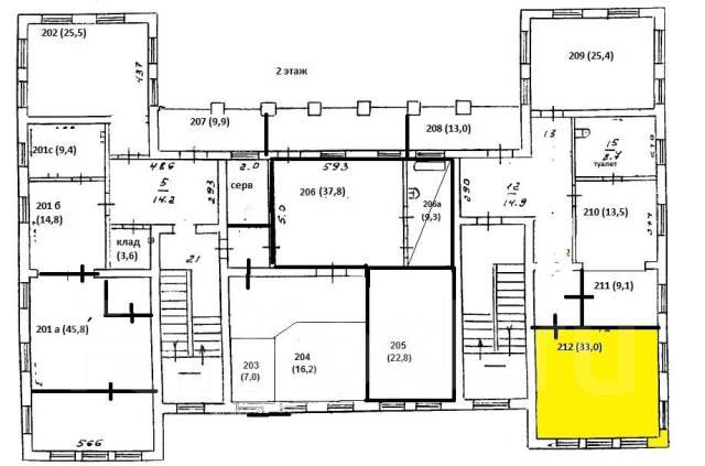 ОФИС центр города 33 кв. м. 33кв.м., улица Кольцевая 68, р-н Ленинская. План помещения