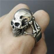 Байкерское мужское кольцо с черепом, ювелирная сталь, р.20-21, США