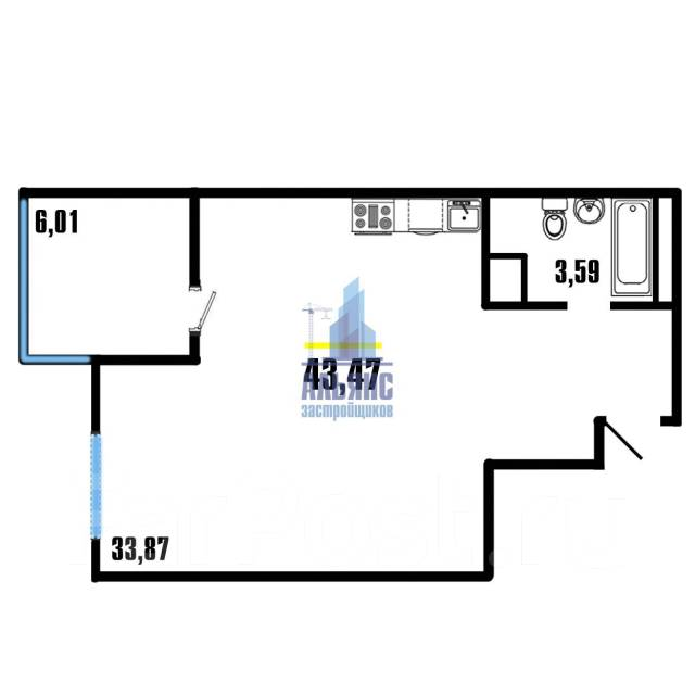 1-комнатная, улица Можайская 5 стр. 1. Патрокл, агентство, 43кв.м. План квартиры
