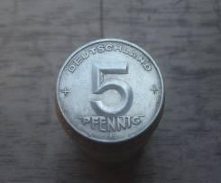 5 пфеннигов 1952 год Е, редкость