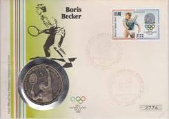 Ниуэ 5$ 1987 Теннис, Борис Беккер, Конверт первого дня гашения + марка