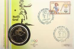 Ниуэ 5$ 1987 Теннис, Штеффи Граф, Конверт первого дня гашения + марка