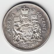 Канада 50 центов 1963 Серебро