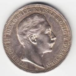 Германия - Пруссия 3 марки 1908 А Серебро