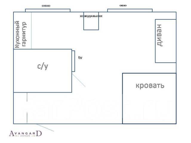 1-комнатная, проспект Красного Знамени 85. Некрасовская, 34,0кв.м. План квартиры