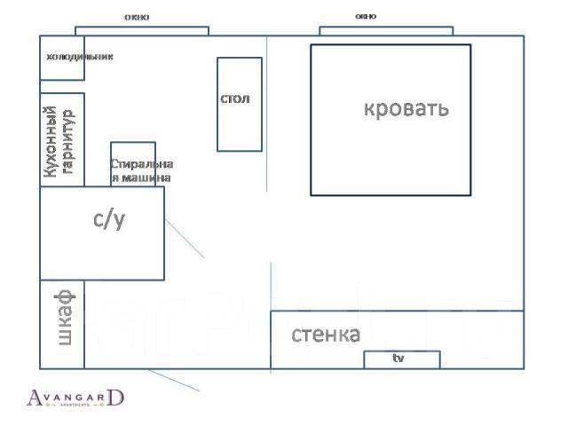 1-комнатная, улица Суханова 6г. Центр, 33кв.м. План квартиры
