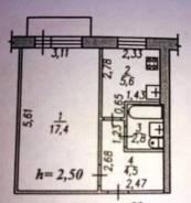 1-комнатная, улица Истомина 70. Кировский, агентство, 32кв.м. План квартиры