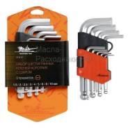 Набор шестигранных ключей коротких с шаром 9 предметов, пластиковый подвес AIRLINE AT917