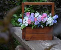 Лукошко с цветами ручной работы из фоамирана