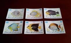 Куба. Нечастая полная серия из 6 чистых марок 1985 г. в сохране! Рыбки