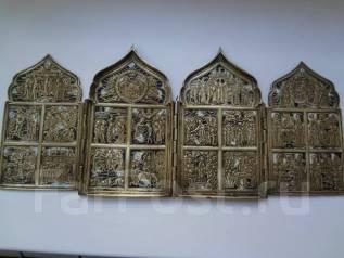 Большой складень. Праздники. 4 створки, бронза, эмали. Царская Россия. Оригинал