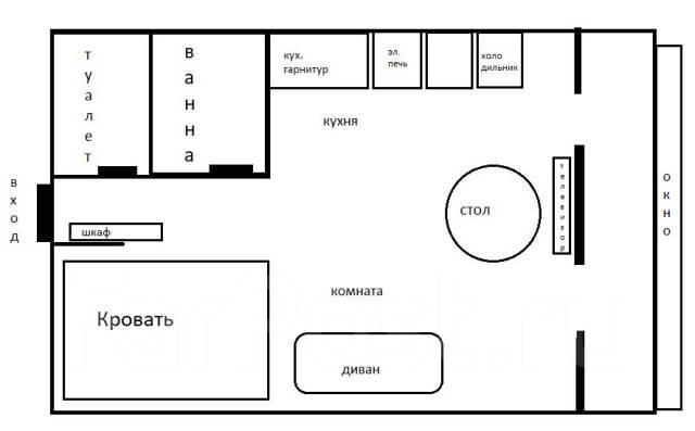 1-комнатная, улица Светланская 193. Гайдамак, 34кв.м. План квартиры
