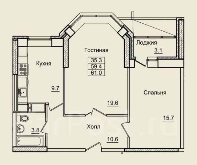 2-комнатная, улица Нейбута 17 кор. 9. 64, 71 микрорайоны, застройщик, 61кв.м. План квартиры