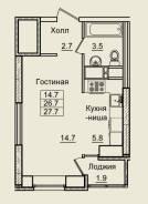 Гостинка, улица Нейбута 17 кор. 9. 64, 71 микрорайоны, застройщик, 28кв.м. План квартиры