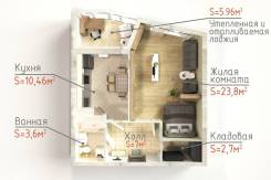 1-комнатная, улица Фролова 19 кор. 1. ВИЗ, частное лицо, 53,5кв.м.