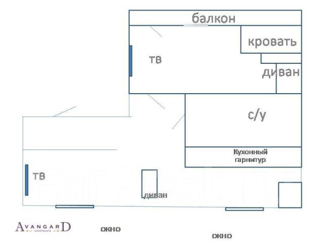 2-комнатная, улица Прапорщика Комарова 29. Центр, 54кв.м. План квартиры