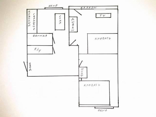 2-комнатная, проспект Народный 47. Некрасовская, 54кв.м. План квартиры