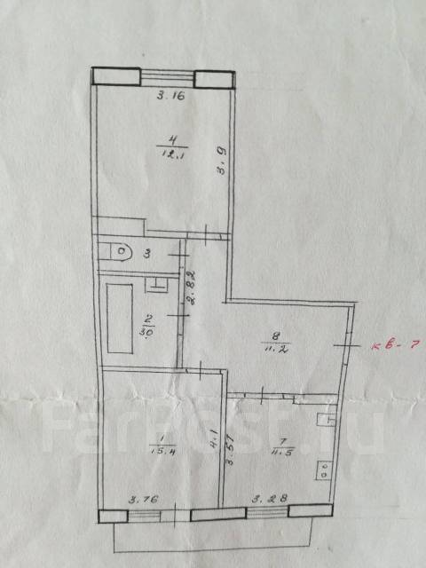 2-комнатная, улица Первомайская 24. Ж/д вокзал, частное лицо, 55кв.м. План квартиры