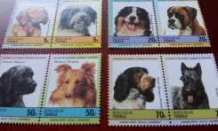 Экзотика! Тувалу. 8 чистых марок 1985 г. Собаки. Полная серия. Отличны
